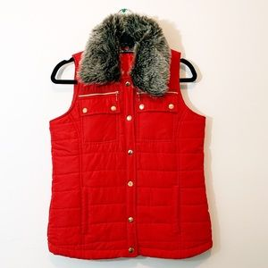 Activology  Red Vest with fur neck